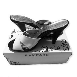 Rampage  size 9 black and white strapped heels